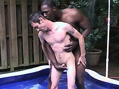 Interracial wading pool fun