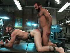 gay tied on a workbench and fucked hard