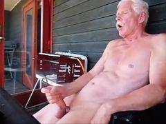 Old gay masturbates outdoor