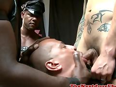 BDSM Interracial dom studs cumming on slave
