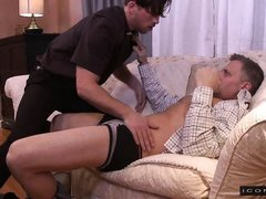 hot stud slurps an older man's stiff dick