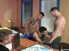 hot hunks suck cocks in wild foursome @ gaymers