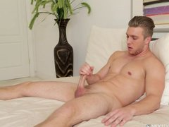 Alone And Aroused Male Jerking Off In Bed