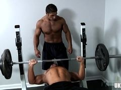 Muscle gay oral sex and cumshot in gym