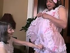 Two crossdressers handjob and masturation