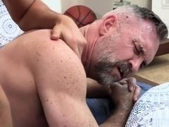 Young gay boi fucks the old birthday man