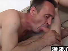 Young guy enjoying hardcore barebacking with an older dude
