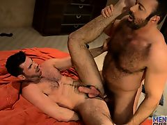 Manly hairy buds Brad and Billy rub and grind their fur