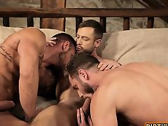 Muscle gay threesome with creampie