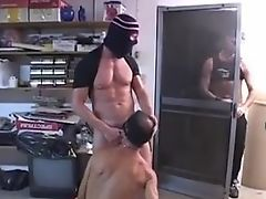 Innocent yet horny gay double fucked in dirty stock room