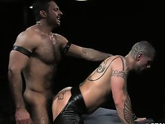 Adam pile drives Logan's exposed manhole on the dungeon bed