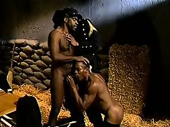 Hunky black man gets his vigorous prick sucked by a hot soldier