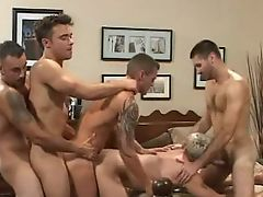 Gay orgy in bed