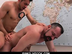 Young stud taught how to fuck by his scruffy older daddy