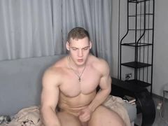 Cam Muscle God Squeezes His Hard Cock