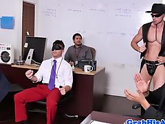 Threeway stripper jizzed by office jocks