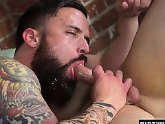 Muscle jock dildo with facial