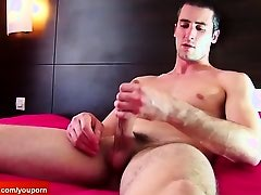 Testing his cock: Guillaume a real straight guy get wanked his huge cock !