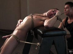 bound slave has a rock hard cock
