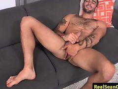 Ripped hung stud solo wank off session
