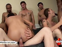 Twink's bukkake turns into an orgy