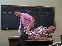Men trying anal and oral in serious gay porn at school