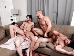 horny muscled men fucking on the couch