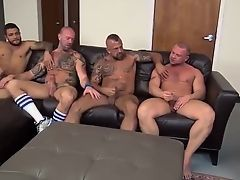 Four mature gays jerk together and fuck each other