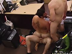 Naked hairy dude eats two cock