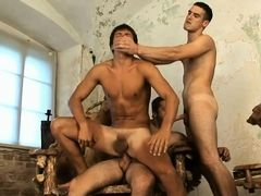 Three young gays fuck after massage