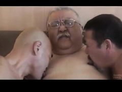 Three japanese grandads fuck each other