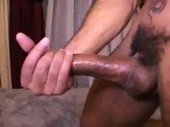 Young gay masturbates huge cock