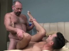 Old daddy drills sweet latin twink