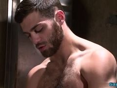 Hairy jock piss and cumshot