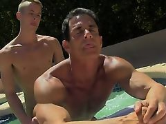 Gay porn Daddy Poolside Prick Loving