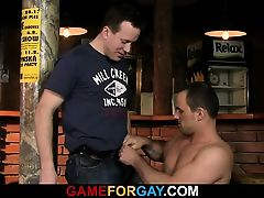 Gay man easily seduces barman
