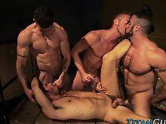 Brawny gay group spunk