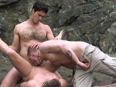 Hot Gay Threesome On The Beach